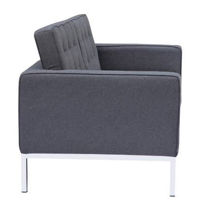 Button Wool Loveseat - Gray