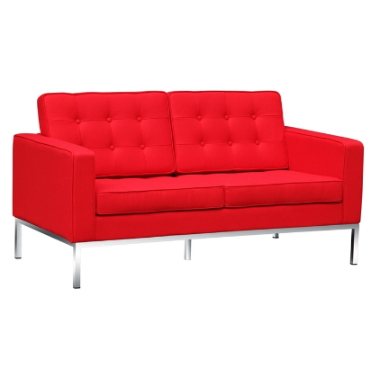 Chez Roulez - Seating - Fine Mod Imports - Button Wool Loveseat - Red - 1