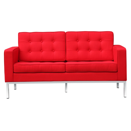 Button Wool Loveseat - Red