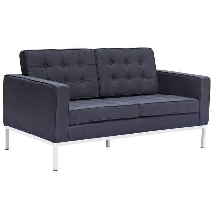 Chez Roulez - Seating - Fine Mod Imports - Button Wool Loveseat - Black - 1