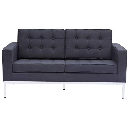 Button Wool Loveseat - Black
