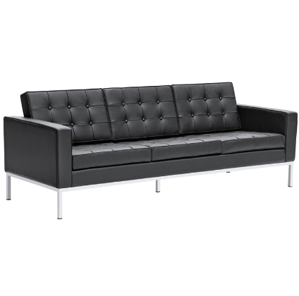 Chez Roulez - Seating - Fine Mod Imports - Button Leather Sofa - Black - 1
