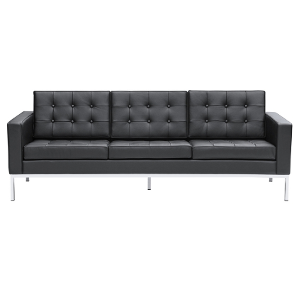 Button Leather Sofa - Black