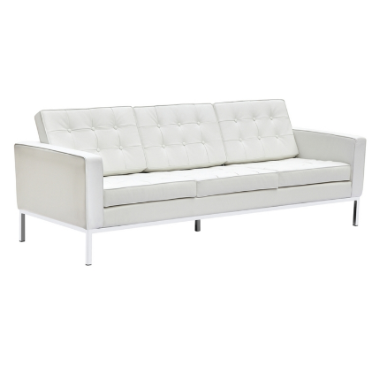 Chez Roulez - Seating - Fine Mod Imports - Button Leather Sofa - White - 1