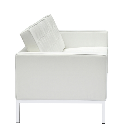 Button Leather Sofa - White