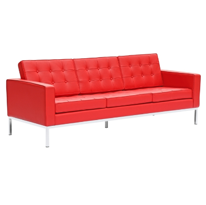Chez Roulez - Seating - Fine Mod Imports - Button Leather Sofa - Red - 1
