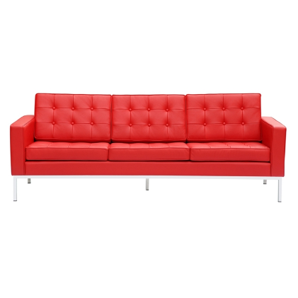 Button Leather Sofa - Red