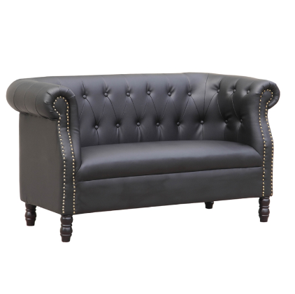 Chester Leather Loveseat - Black