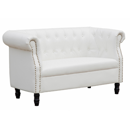 Chester Leather Loveseat - White