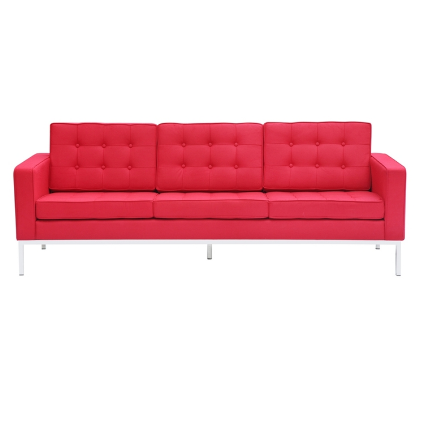Button Wool Sofa - Red