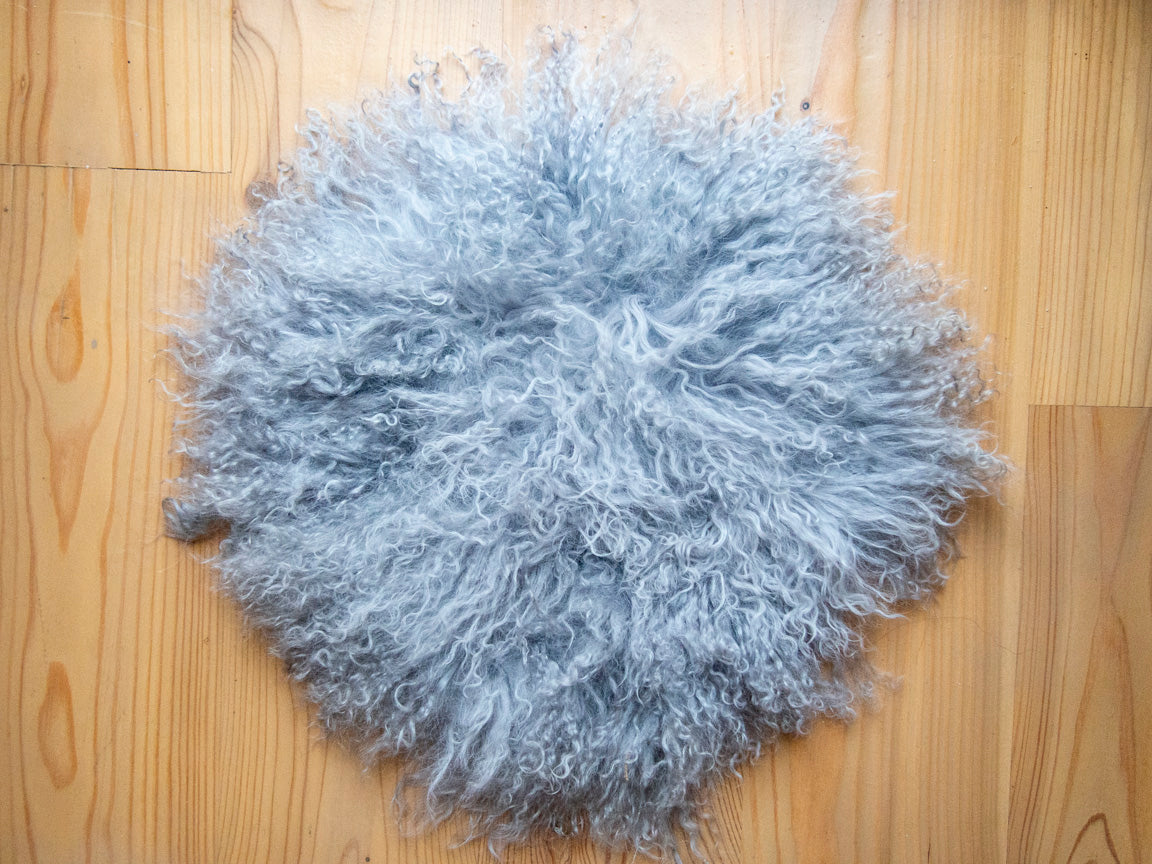 Gray Mongolian Sheepskin Stool Covers