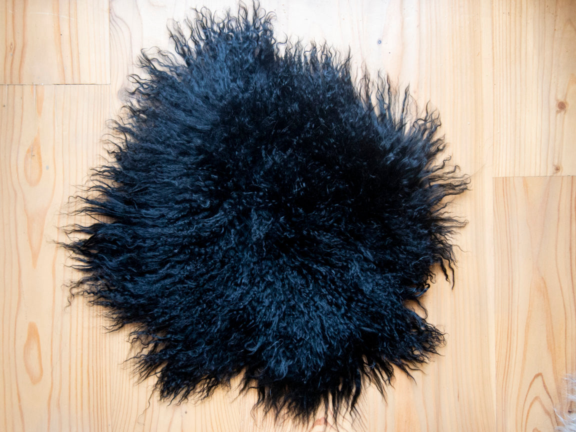 Black Mongolian Sheepskin Stool Covers