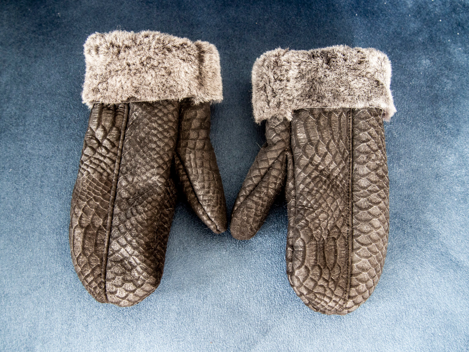 Black Real Sheepskin Unisex Adult Mittens! Animal Print.