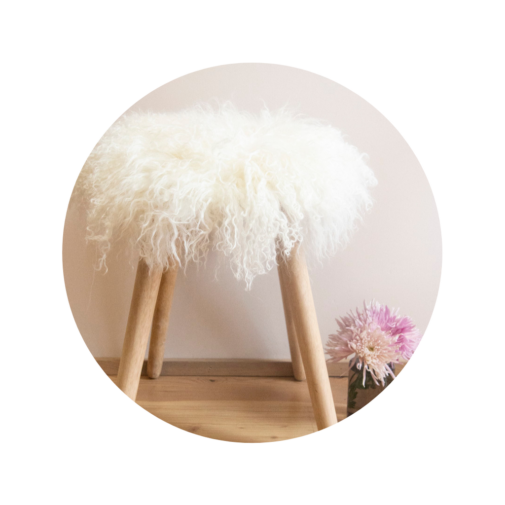 White Mongolian Sheepskin Stool Covers.