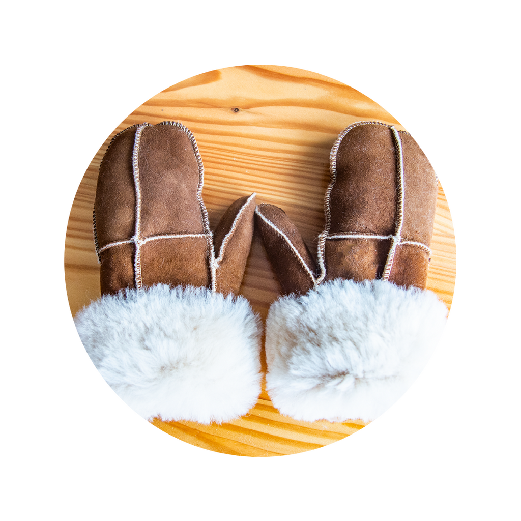 Brown Real Sheepskin Unisex Adult Mittens!