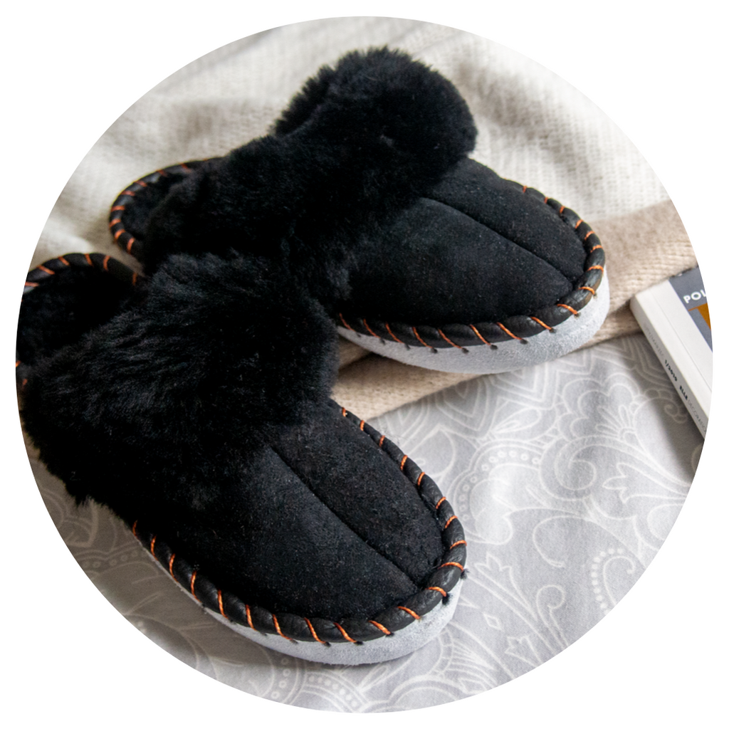 Shearling Sheepskin Mules Black