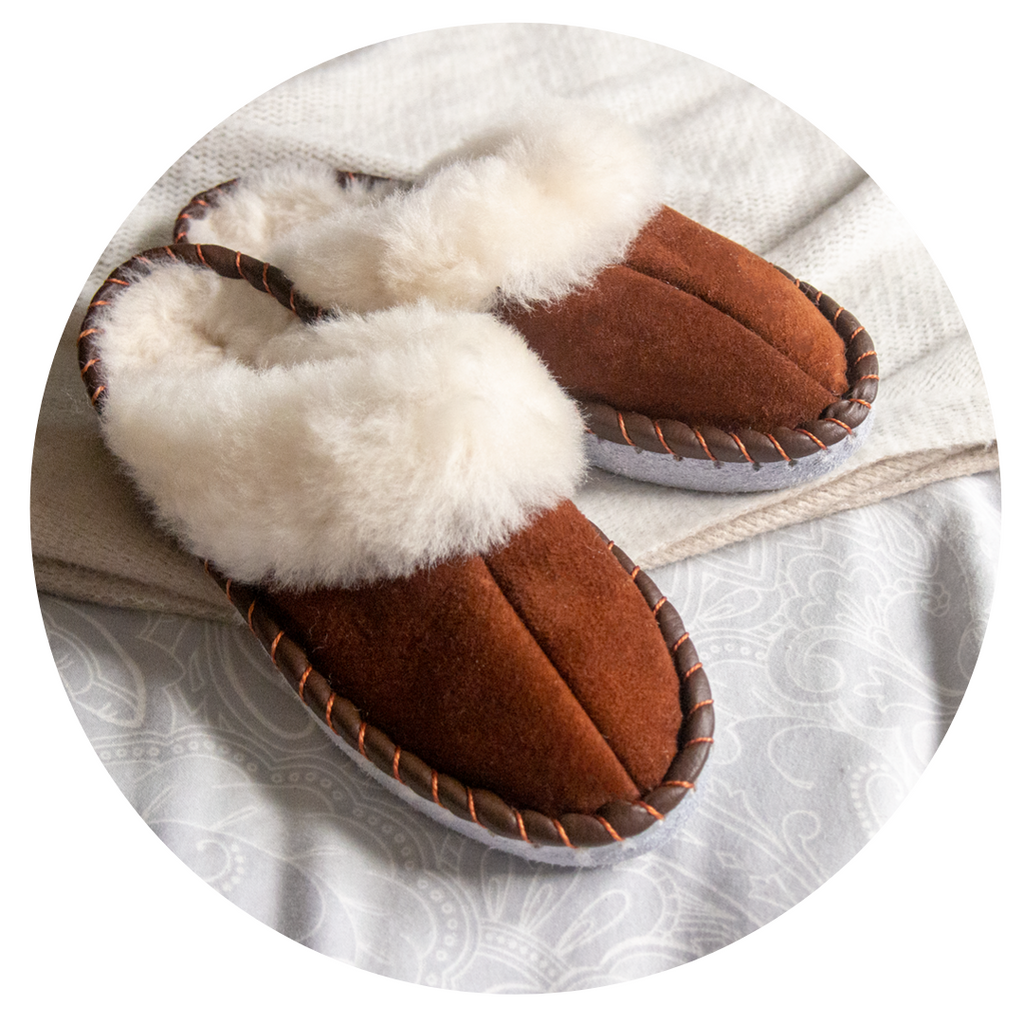 brown shearling sheepskin mules