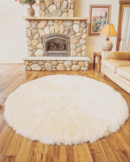 Very Big Pure Sheepskin Round Rug.