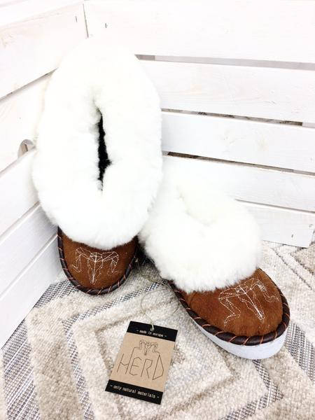 Brown & White Sheepskin Slippers.