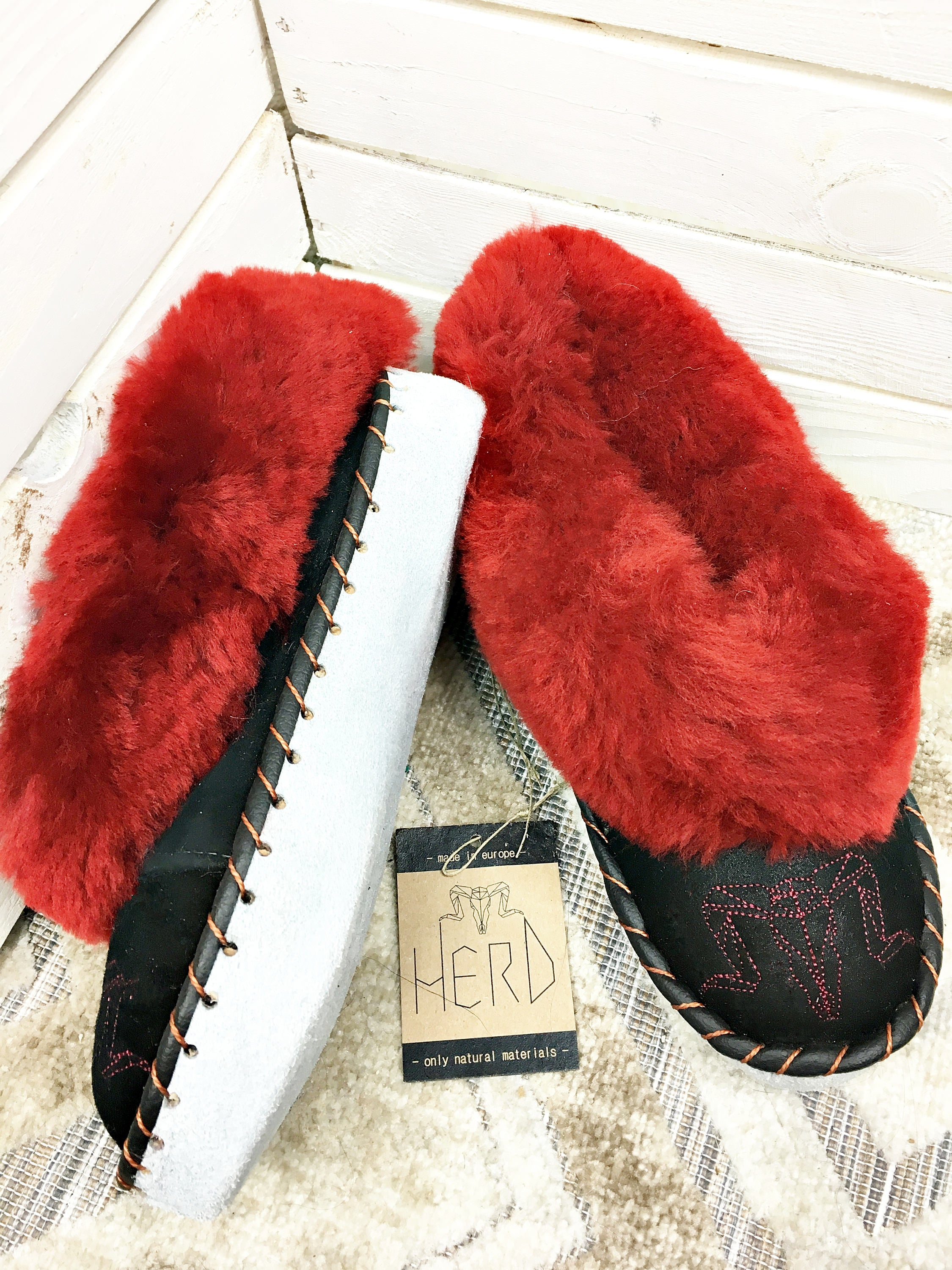 Burgundy & Black Leather Slippers.