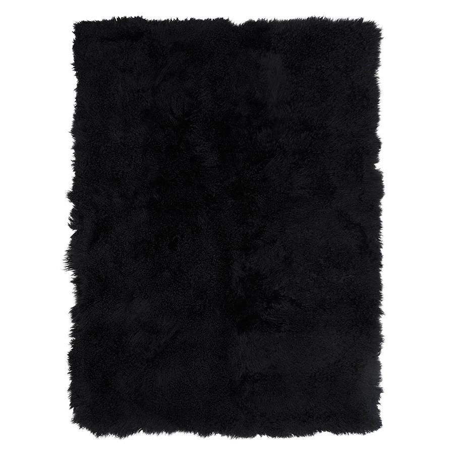Mongolian Sheepskin Throw Blanket - Black.