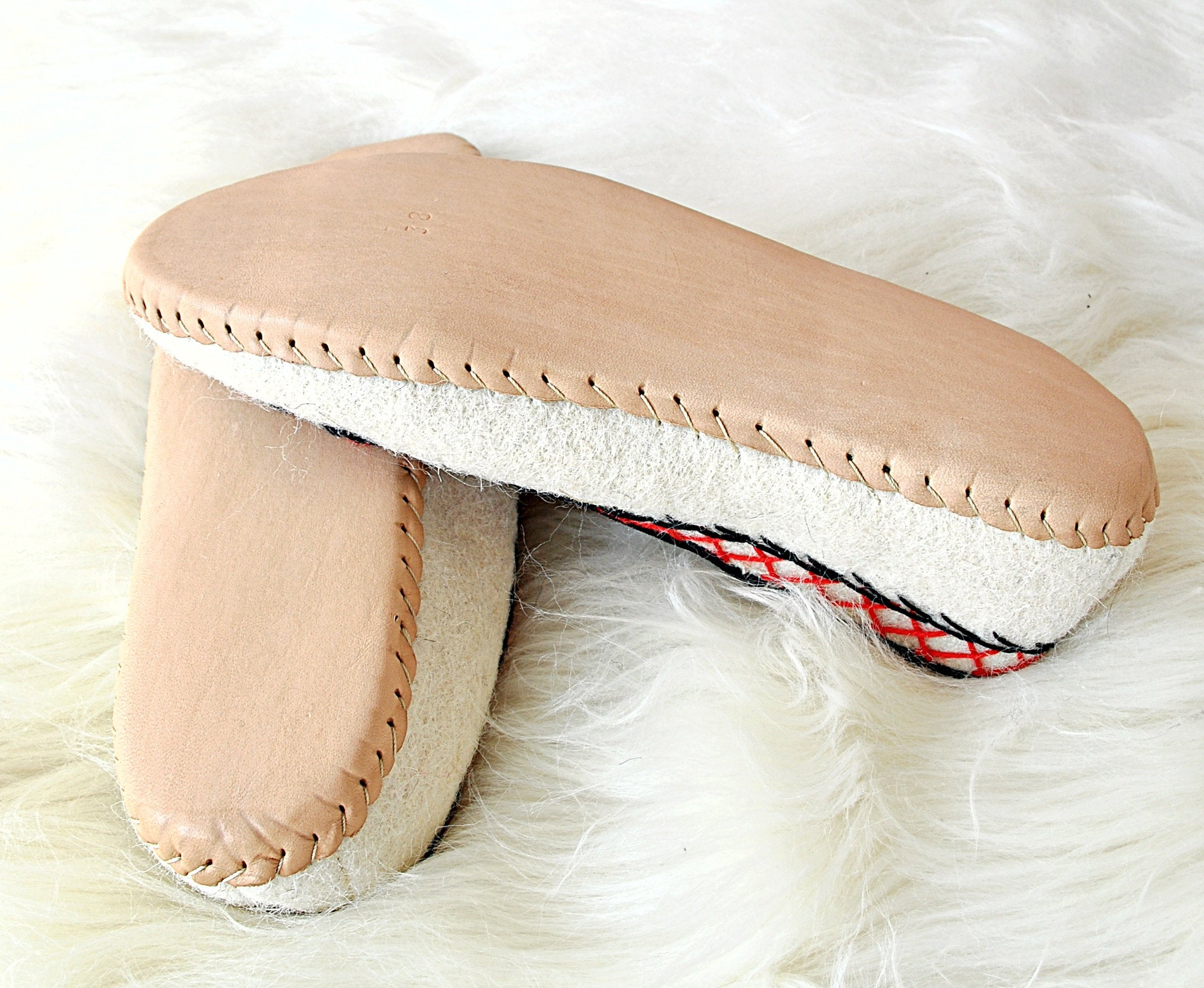 Ivory Felt and Real Leather Folk Slippers.