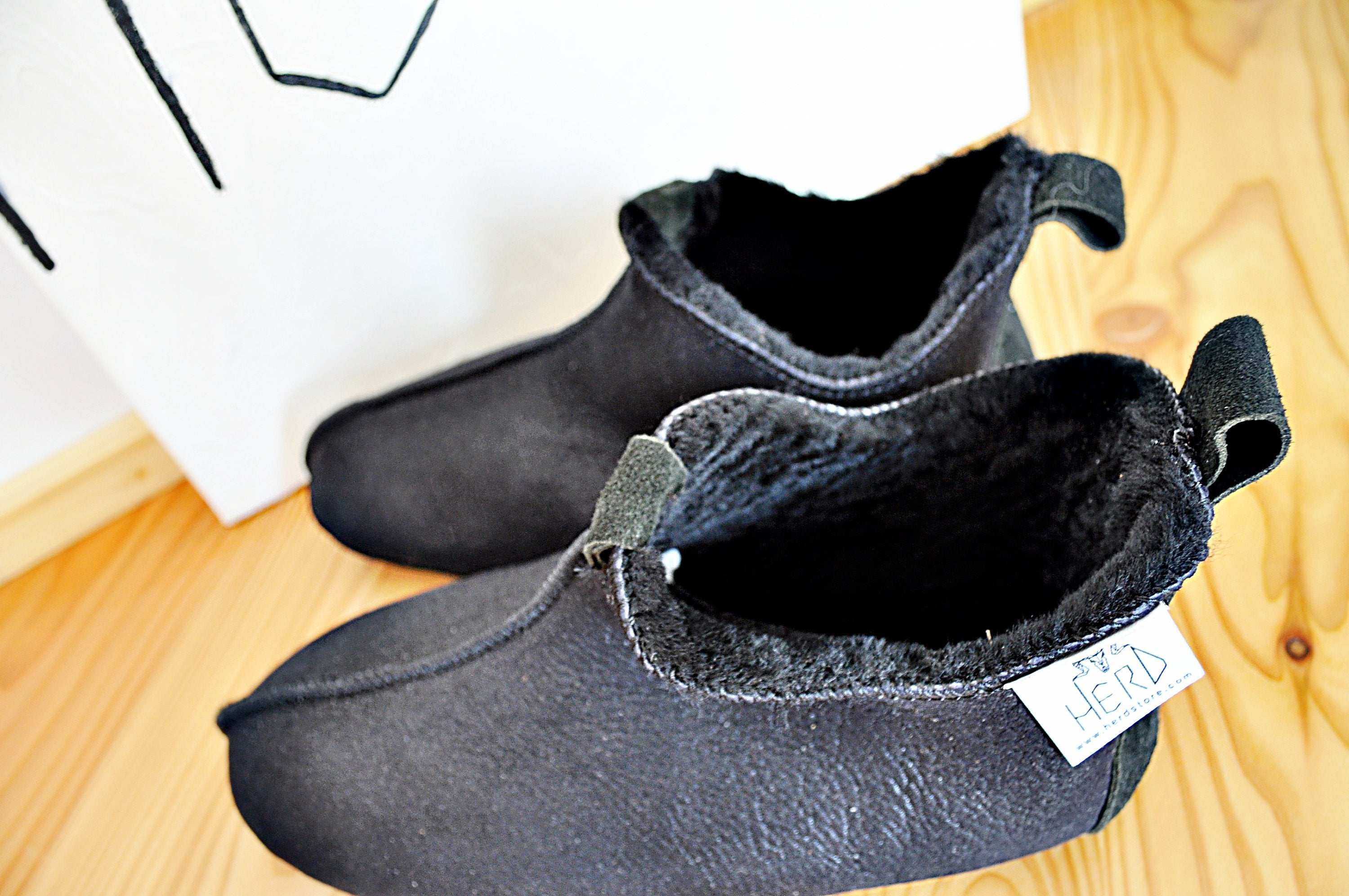 Black Real Sheepskin Slippers.