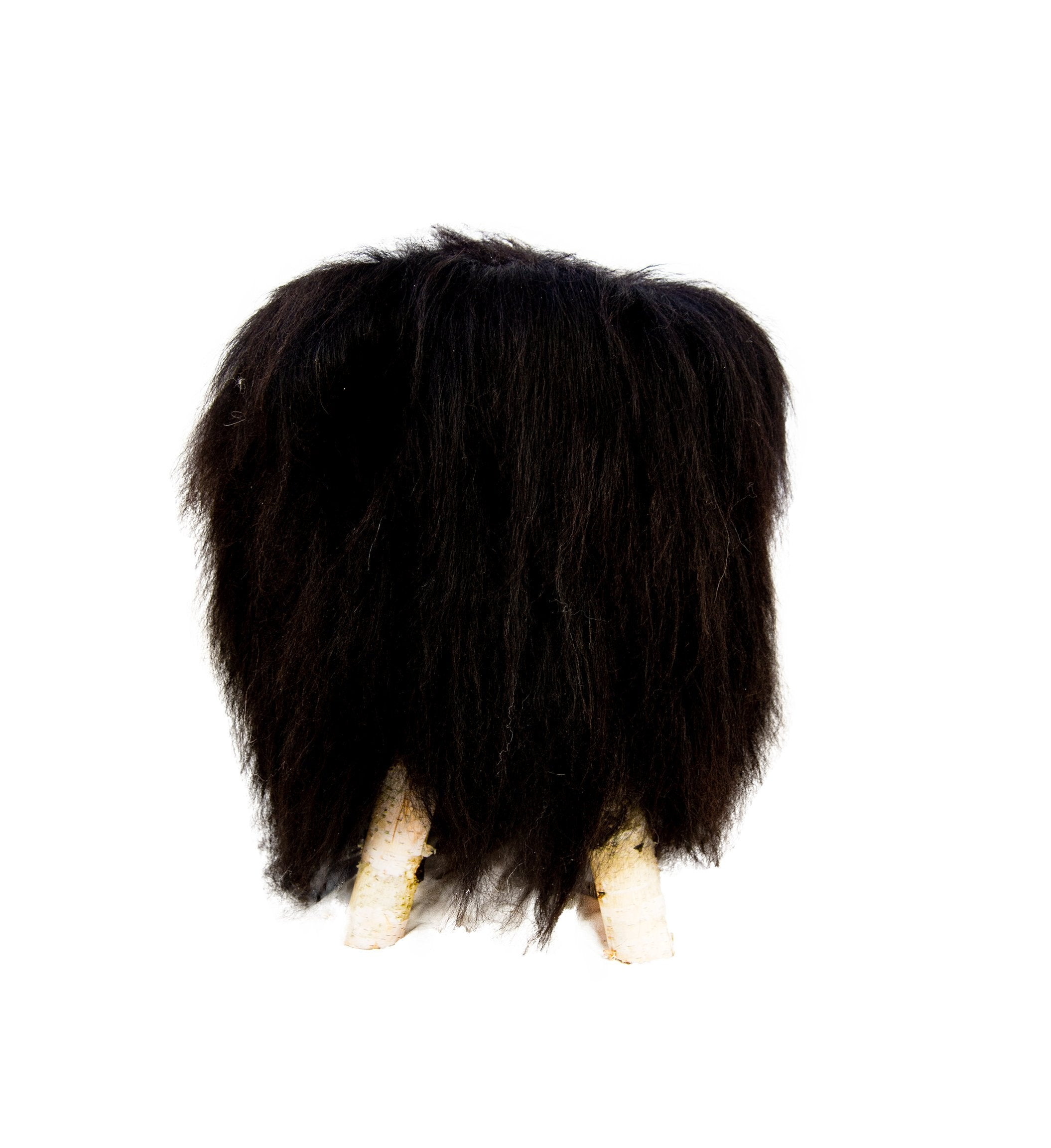 Birch wood & Black Sheepskin Ottoman