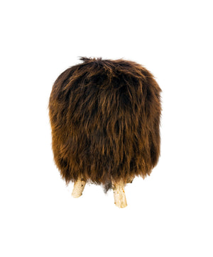 Birch wood & Brown Sheepskin Ottoman