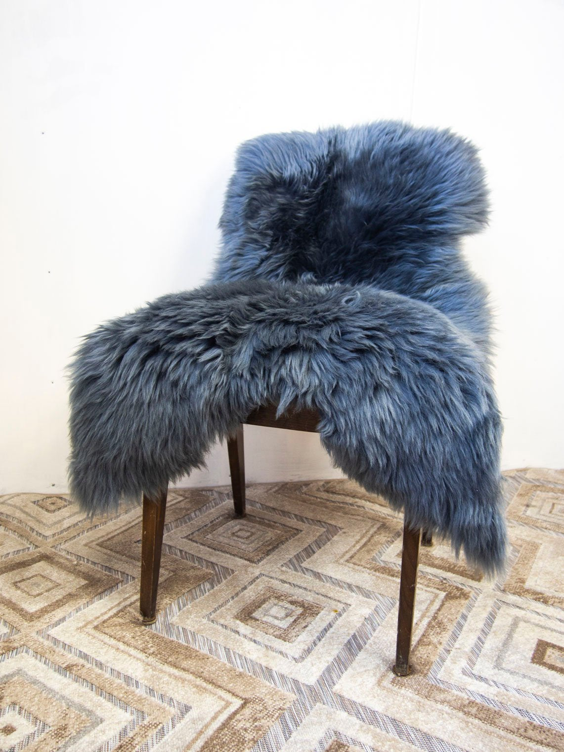 Steel Gray Natural Sheepskin Pelt.