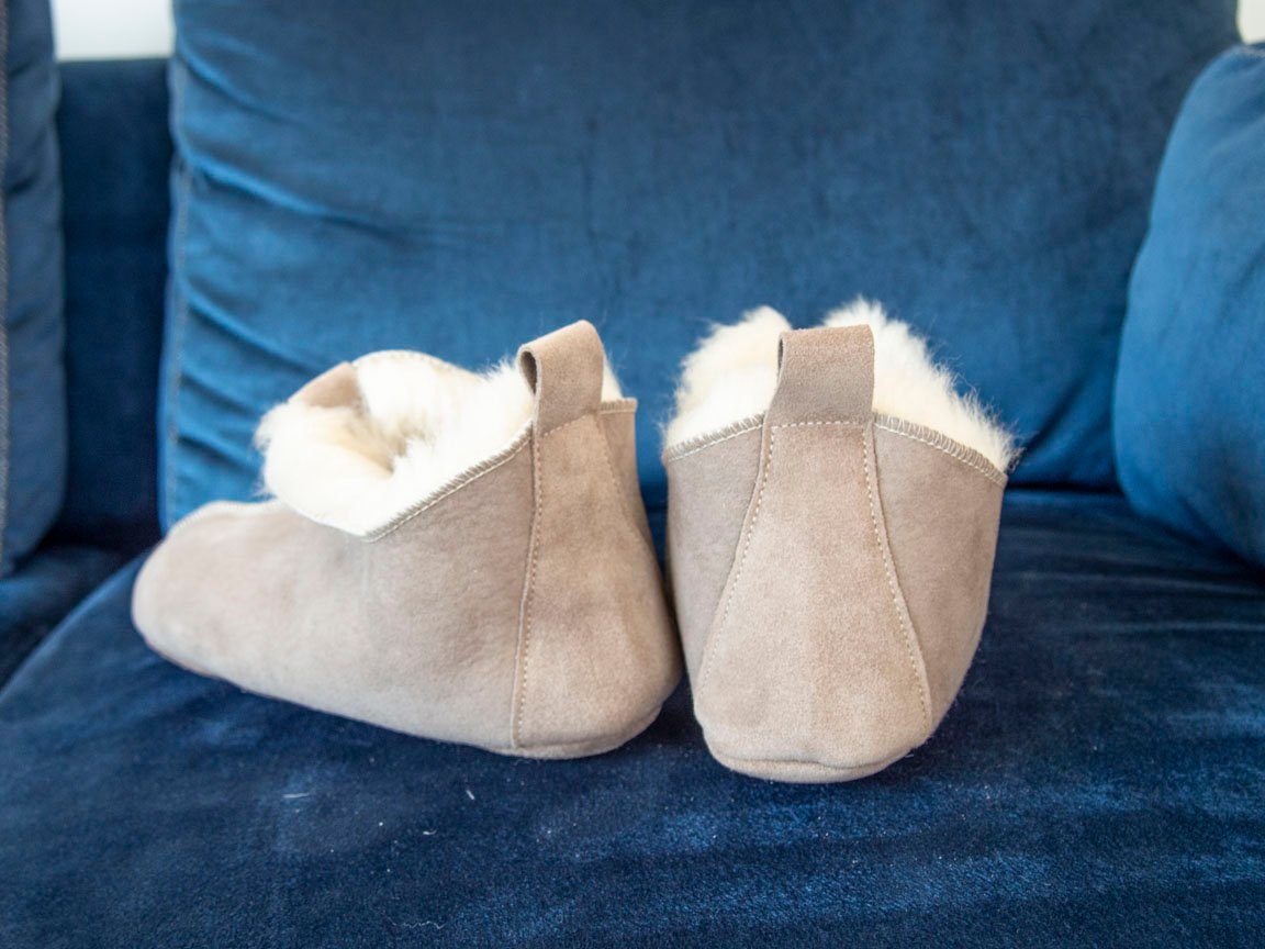 Gray Sheepskin Slippers.
