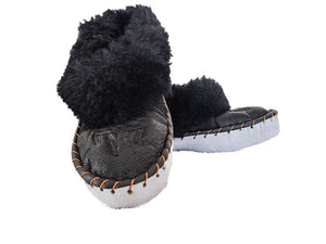 Black Leather Slippers.