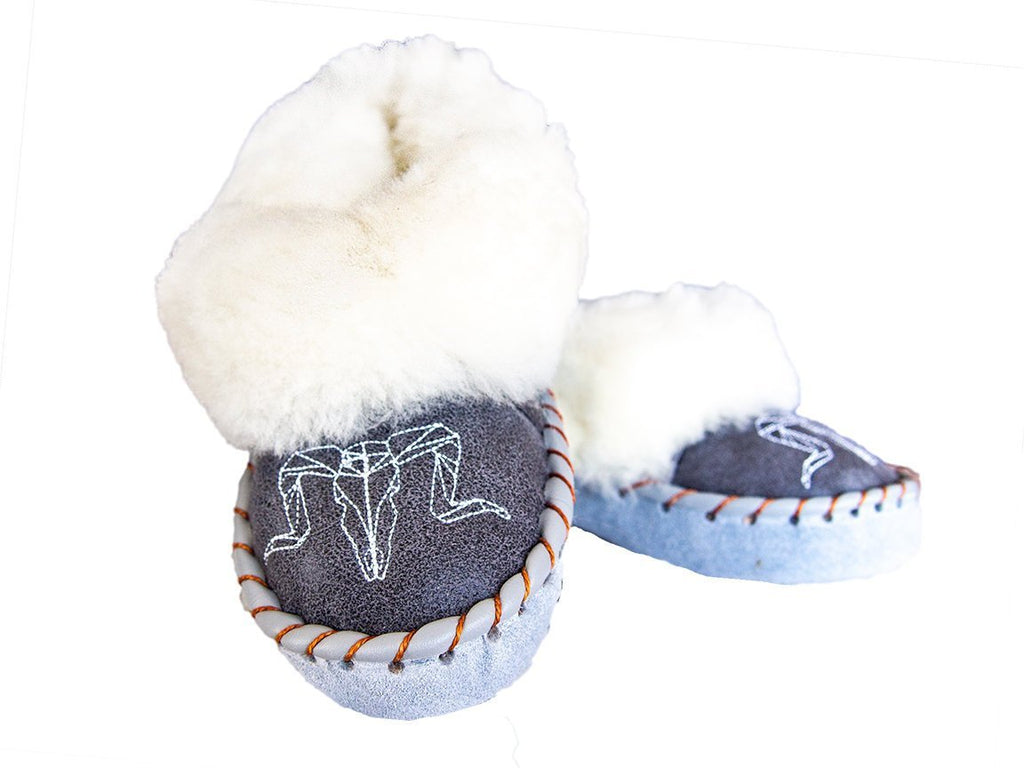 White & Gray Sheepskin Slippers.