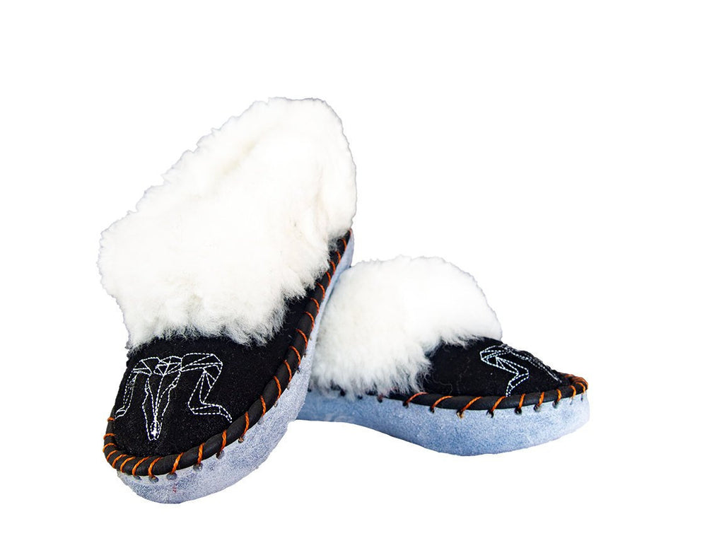 White & Black Sheepskin Slippers.