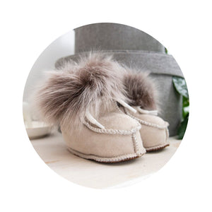Gray Real Sheepskin Baby Booties.