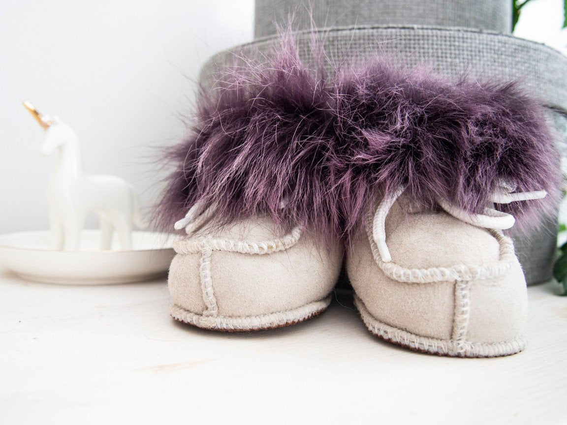 Sheepskin Booties For Kids. Purple