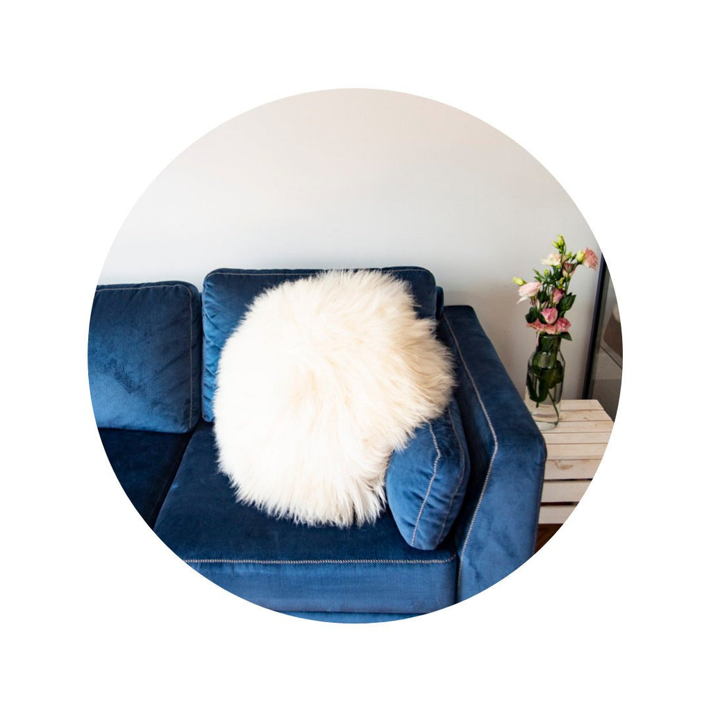 Decorative Round Furry Pillow.