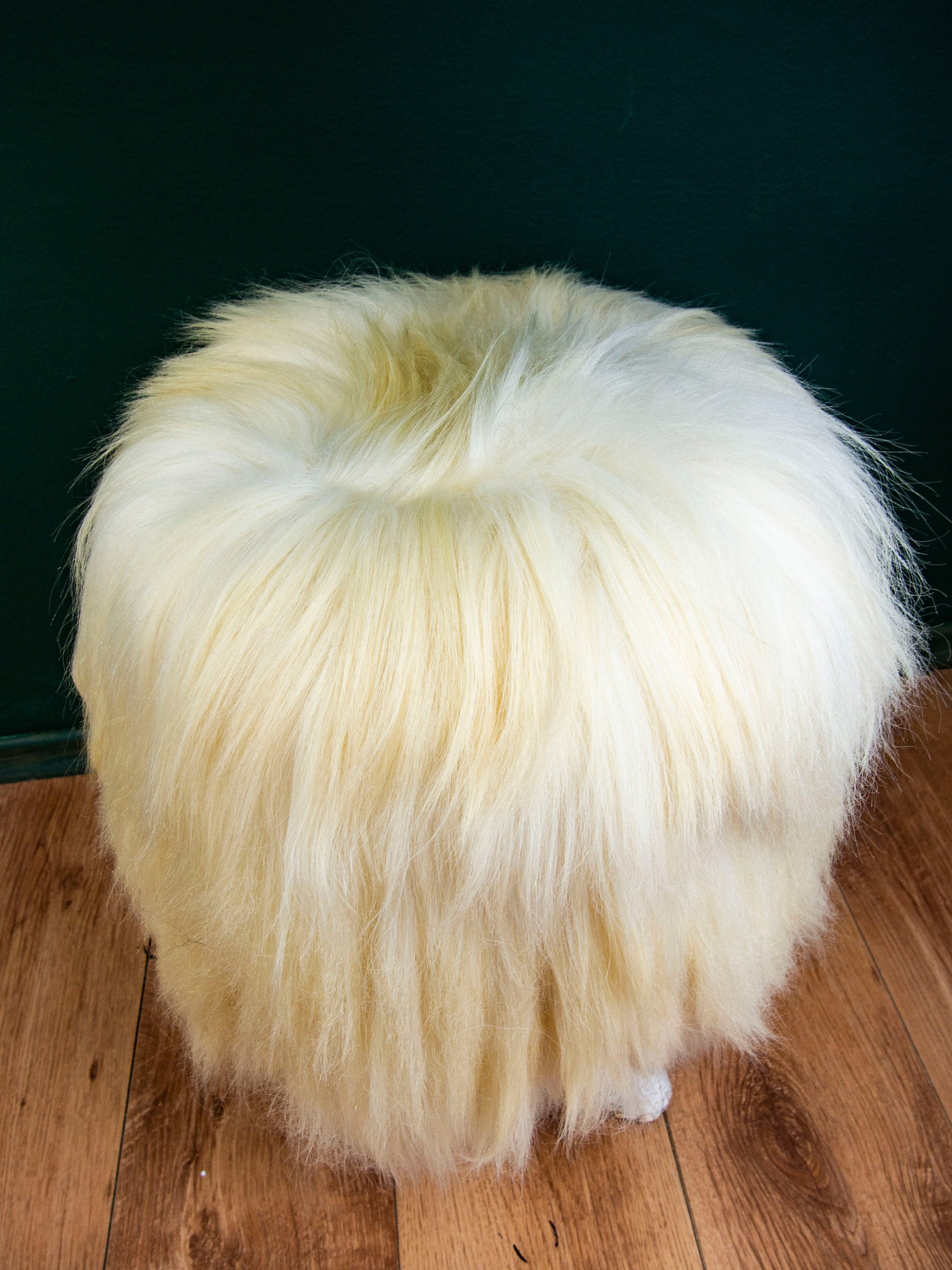 Birch Wood and Cream sheepskin ottoman