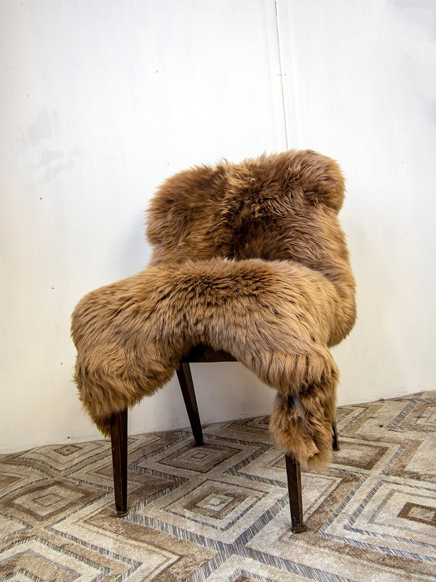Honey Brown Natural Sheepskin Pelt.