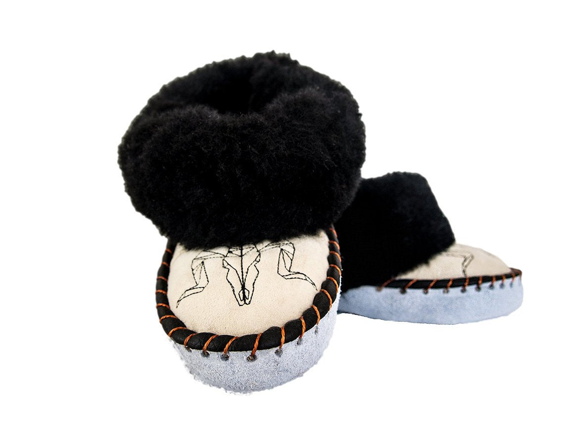 Black & Cream Sheepskin Slippers.
