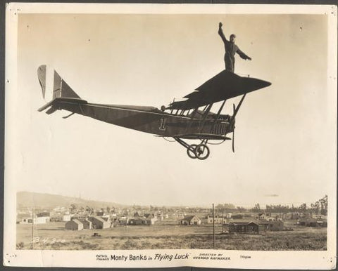 MONTY BANKS - FLYING LUCK (Létající štěstí). - 1927. American silent comedy film, Original vintage photo. /18/