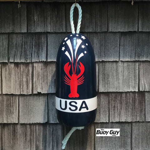 Decorative Hanging Maine Lobster Buoy - USA 4th of July Lobster