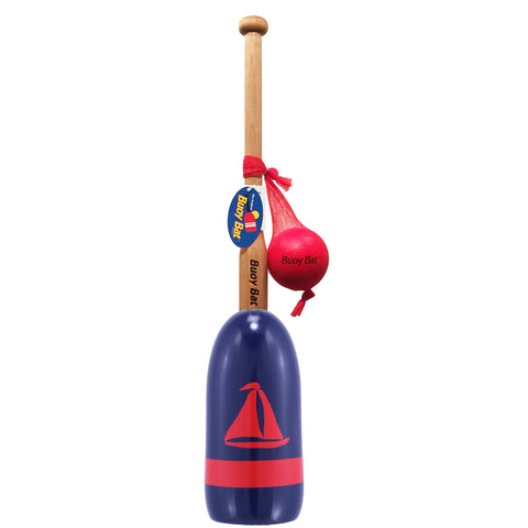 Maine Lobster Buoy Bat & Ball Set - Navy Red Sailboat