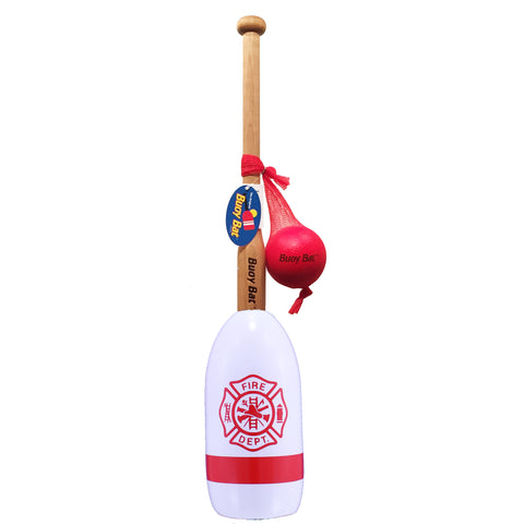 Maine Lobster Buoy Bat & Ball Set - White Red Firefighter