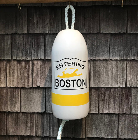 Decorative Hanging Maine Lobster Buoy - Entering Boston Hockey Player Flying