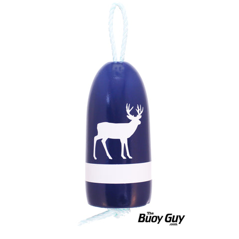 Decorative Hanging Maine Lobster Buoy - Navy White Deer / Buck