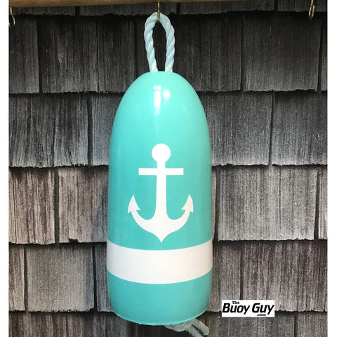 Decorative Hanging Maine Lobster Buoy - Pastel Blue White Anchor
