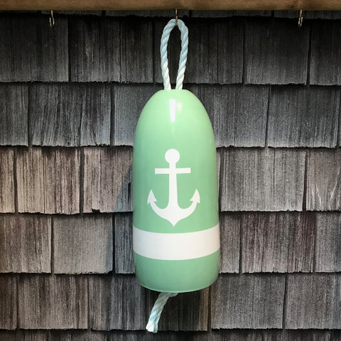 Decorative Hanging Maine Lobster Buoy - Pastel Green White Anchor