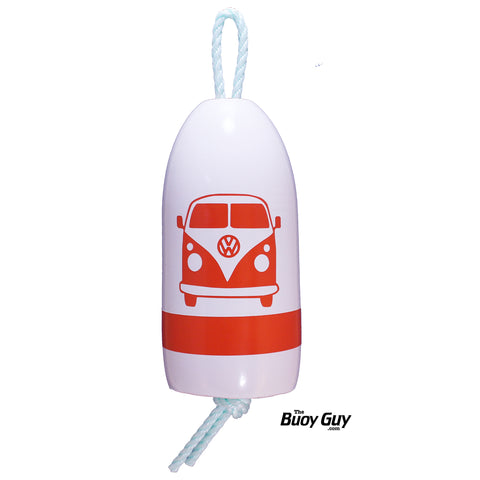 Decorative Hanging Maine Lobster Buoy - White Orange Volkswagen Bus