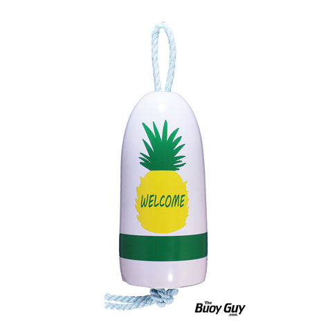 Decorative Hanging Maine Lobster Buoy - White Pineapple